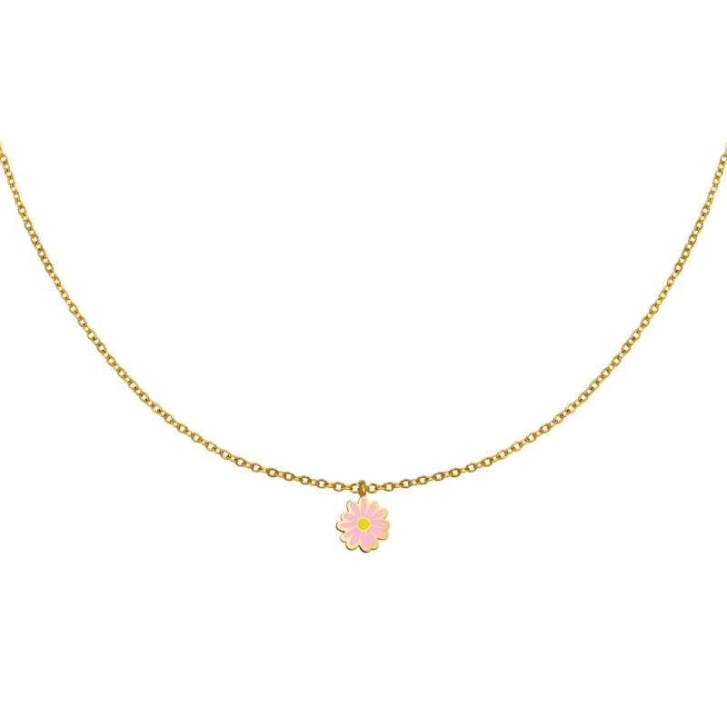 Ketting madelief roze