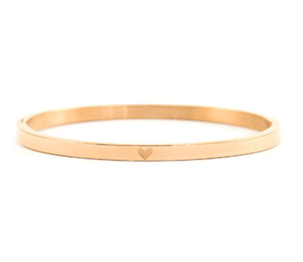 BANGLE WITH HEART SMALL - / ROSÉ GOLD