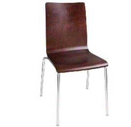 GR343 -Bolero stoel met vierkante rug noten - 4 stuks
