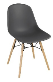 DM841 -Bolero Arlo polypropyleen stoelen met houten poten grijs