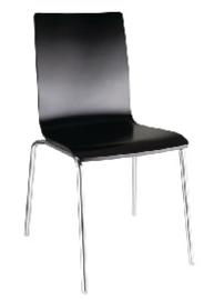 GR345 -Bolero stoel met vierkante rug zwart - 4 stuks