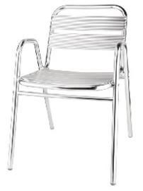 U501 -Bolero stapelbare aluminium stoelen met gebogen armleuning