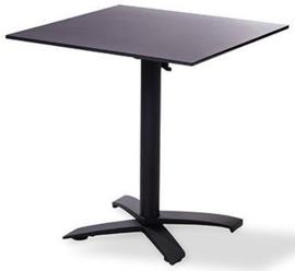 11003 + 1077 -  X Cross low black party terrastafel zwart tafelblad met een aluminium onderstel 70 x 70 cm