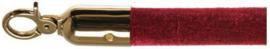 10103BRB - Velours afzetkoord bordeaux rood met messing lengte 157 cm VEBA