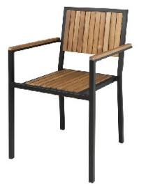 DS151 -Bolero stalen en acaciahouten stoelen met armleuningen