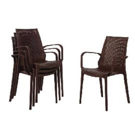 GR362 -Bolero kunststof rotan stoel met armleuning bruin