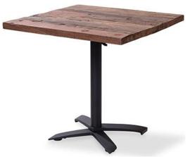 11003 + 1188 - X Cross low black partytafel met houten tafelblad met een mat zwart onderstel 80 x 80 cm