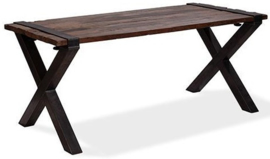 30180LX - 30220LX - Old Dutch table low - X Frame met een barnwood tafelblad van de Old Dutch VEBA