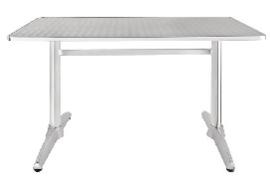 U432 -Bolero rechthoekige RVS tafel met dubbele tafelpoot 120cm