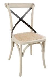 DR306 -Bolero houten stoel met gekruiste rugleuning ecru