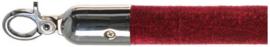10103BRC - Velours afzetkoord bordeaux rood chrome lengte 157 cm VEBA