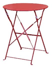 GH560 -Bolero ronde stalen opklapbare tafel rood 59,5cm