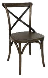 GG658 -Bolero houten stoel met gekruiste rugleuning walnoot