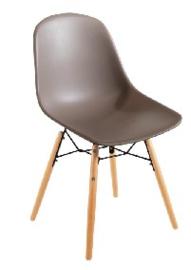 DM842 -Bolero Arlo polypropyleen stoelen met houten poten bruin