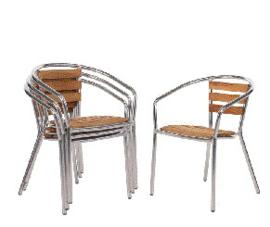 U421 -Bolero aluminium en essenhouten stoelen met armleuning
