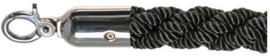 10102BC - Luxe afzetkoord zwart Chrome bestaat gepolijst rvs en gedraaid touw  VEBA