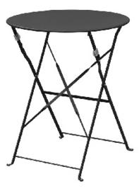 GH558 -Bolero ronde stalen opklapbare tafel zwart 59,5cm