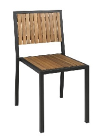 DS150 -Bolero stalen en acaciahouten stoelen zonder armleuningen