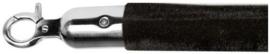 10103BS -  Velours afzetkoord zwart met geborsteld rvs lengte 157 cm VEBA
