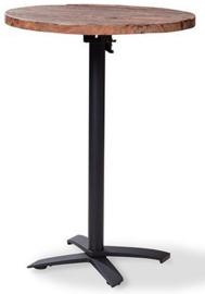 11004 + 1180 - X Cross high Match statafel een houten tafelblad met een mat zwart onderstel rond 70 cm