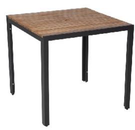 DS152 -Bolero vierkante stalen en acaciahouten tafel 80x80cm