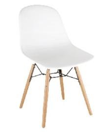 DM840 -Bolero Arlo polypropyleen stoelen met houten poten wit