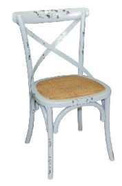 GG655 -Bolero houten stoel met gekruiste rugleuning antiek blue wash