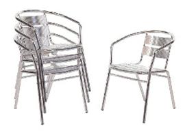 U419 -Bolero stapelbare aluminium stoel (4 stuks)