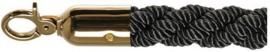10102BB - Luxe afzetkoord zwart bestaat uit messing met een gedraaid touw VEBA