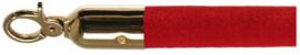 10103RB - Velours afzetkoord rood met messing lengte 157 cm VEBA
