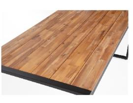 DS157 -Bolero rechthoekige stalen en acaciahouten industriële tafel
