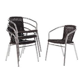 U507 -Bolero aluminium en rotan stoel zwart