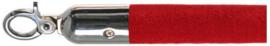10103RC - Velours afzetkoord rood gepolijst rvs met  lengte 157 cm VEBA