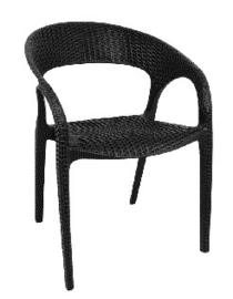 GR363 -Bolero kunststof rotan stoel met armleuning zwart