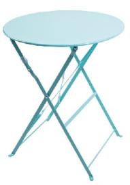 GK983 -Bolero ronde stalen opklapbare tafel turquoise 59,5cm