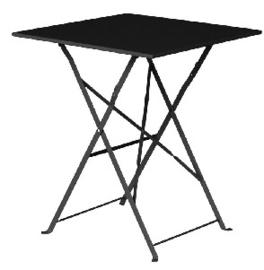 GK989 -Bolero vierkante opklapbare stalen tafel zwart 60cm