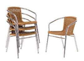 U422 -Bolero aluminium en rotan stoel naturel
