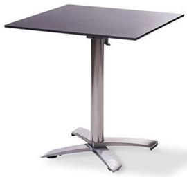 11001 + 1077 - X Cross low alu party terrastafel zwart tafelblad met een aluminium onderstel 70 x 70 cm
