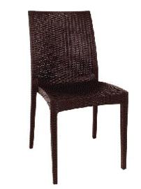 GR361 -Bolero kunststof rotan stoel zonder armleuning bruin - 4 stuks