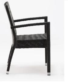 DL477 -Bolero kunststof rotan stoel met armleuning antraciet
