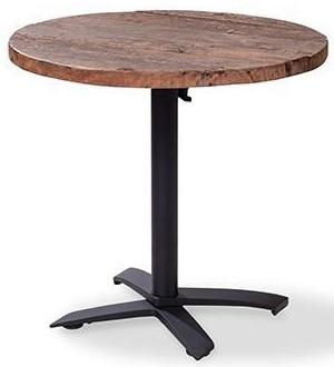 11003 + 1180 - X Cross low black partytafel met een houten tafelblad met een mat zwart onderstel rond 80 cm