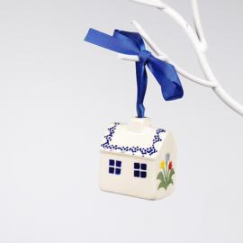 Kerstboom hanger huisje-tulp gemengd blauw