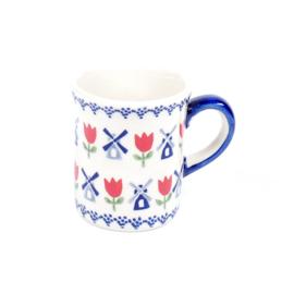 Mokje hoog small - molen blauw met rode tulp