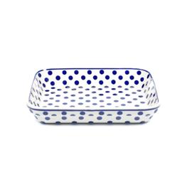 Ovenschaal ondiep small - stip blauw