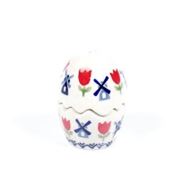 Peper & Zout vaatje - molen blauw met rode tulp