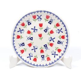 Gebakbordje - molen blauw met rode tulp