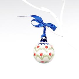 Kerstbal - tulp rood