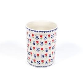 Pollepel pot - molen blauw met rode tulp