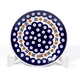 Gebakbordje - blauw oogje met strik