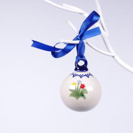 Kerstbal - tulp gemengd blauw